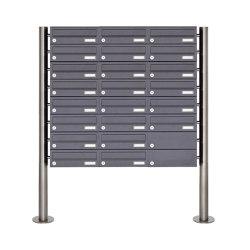 Basic | 22er Briefkastenanlage freistehend Design BASIC 385-7016 ST-R - RAL 7016 anthrazitgrau | Mailboxes | Briefkasten Manufaktur