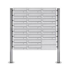 Basic | 22er Briefkastenanlage freistehend Design BASIC 385-VA ST-R - Edelstahl V2A, geschliffen | Mailboxes | Briefkasten Manufaktur