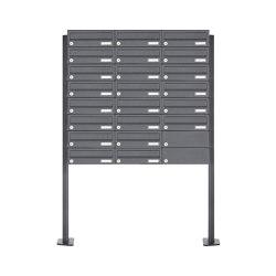 Basic | 22er Briefkastenanlage freistehend Design BASIC 385P-7016 ST-T - RAL 7016 anthrazitgrau | Mailboxes | Briefkasten Manufaktur