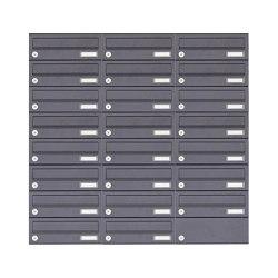 Basic | 23er 8x3 Aufputz Briefkastenanlage Design BASIC 385A-7016 AP - RAL 7016 anthrazitgrau | Mailboxes | Briefkasten Manufaktur