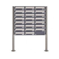 Basic | 23er 8x3 Briefkastenanlage freistehend Design BASIC 385 ST-R - Edelstahl-RAL 7016 anthrazitgrau | Mailboxes | Briefkasten Manufaktur