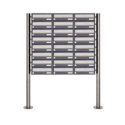 Basic | 24er 8x3 Briefkastenanlage freistehend Design BASIC 385 ST-R - Edelstahl-RAL 7016 anthrazitgrau | Mailboxes | Briefkasten Manufaktur