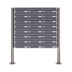 Basic | 24er Briefkastenanlage freistehend Design BASIC 385-7016 ST-R - RAL 7016 anthrazitgrau | Mailboxes | Briefkasten Manufaktur