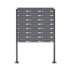 Basic | 24er Briefkastenanlage freistehend Design BASIC 385P-7016 ST-T - RAL 7016 anthrazitgrau | Mailboxes | Briefkasten Manufaktur