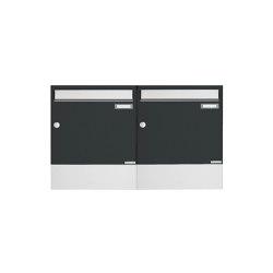 Basic | 2er 1x2 Aufputz Briefkasten BASIC 382A AP mit Zeitungsfach - Edelstahl-RAL 7016 anthrazitgrau | Mailboxes | Briefkasten Manufaktur