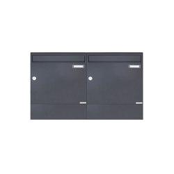 Basic | 2er 1x2 Aufputz Briefkasten BASIC 382A AP mit Zeitungsfach - RAL 7016 anthrazitgrau | Mailboxes | Briefkasten Manufaktur