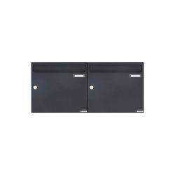 Basic | 2er 1x2 Aufputz Briefkasten Design BASIC 382A AP - RAL 7016 anthrazitgrau 100mm Tiefe | Mailboxes | Briefkasten Manufaktur