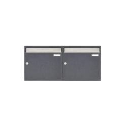 Basic | 2er 1x2 Aufputz Briefkastenanlage Design BASIC 382 AP - Edelstahl-RAL 7016 anthrazitgrau 100mm Tiefe | Mailboxes | Briefkasten Manufaktur