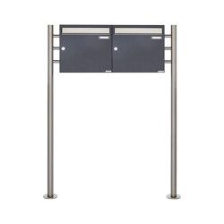 Basic | 2er 1x2 Briefkastenanlage freistehend Design BASIC 381 ST-R - Edelstahl-RAL 7016 anthrazitgrau 100mm Tiefe | Mailboxes | Briefkasten Manufaktur