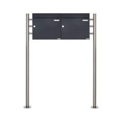 Basic | 2er 1x2 Briefkastenanlage freistehend Design BASIC 381 ST-R - RAL 7016 anthrazitgrau 100mm Tiefe | Mailboxes | Briefkasten Manufaktur