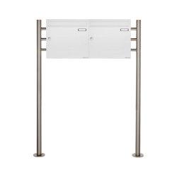 Basic | 2er 1x2 Briefkastenanlage freistehend Design BASIC 381 ST-R - RAL 9016 verkehrsweiß 100mm Tiefe | Mailboxes | Briefkasten Manufaktur