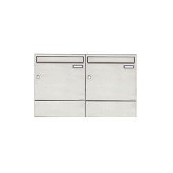 Basic | 2er 1x2 Edelstahl Aufputz Briefkasten BASIC 382A AP mit Zeitungsfach | Mailboxes | Briefkasten Manufaktur