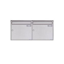 Basic | 2er 1x2 Edelstahl Aufputz Briefkasten Design BASIC Plus 382XA AP - Edelstahl V2A geschliffen 100mm Tiefe | Mailboxes | Briefkasten Manufaktur