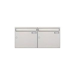 Basic | 2er 1x2 Edelstahl Aufputz Briefkastenanlage Design BASIC 382A-AP Edelstahl V2A, geschliffen 100mm Tiefe | Mailboxes | Briefkasten Manufaktur