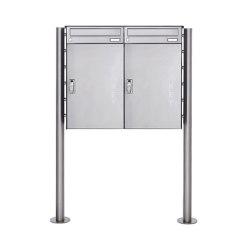 Basic | 2er 1x2 Edelstahl Paketbriefkasten freistehend BASIC 863 ST-R mit Paketfach 550x370 | Mailboxes | Briefkasten Manufaktur