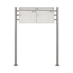 Basic | 2er 1x2 Edelstahl Standbriefkasten Design BASIC 381 ST-R Edelstahl V2A, geschliffen 100mm Tiefe | Mailboxes | Briefkasten Manufaktur