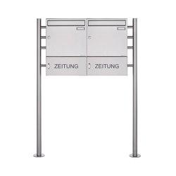 Basic | 2er 1x2 Edelstahl Standbriefkasten Design BASIC 381 ST-R mit Zeitungsfach geschlossen 100mm Tiefe | Mailboxes | Briefkasten Manufaktur