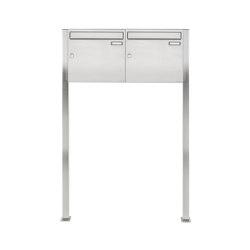Basic | 2er 1x2 Edelstahl Standbriefkasten Design BASIC 384 ST-Q 100mm Tiefe | Mailboxes | Briefkasten Manufaktur