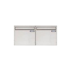 Basic | 2er 1x2 Edelstahl Zaunbriefkasten Design BASIC 382Z - Entnahme rückseitig | Mailboxes | Briefkasten Manufaktur