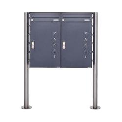 Basic | 2er 1x2 Paketbriefkasten freistehend BASIC 863 ST-R mit Paketfach 550x370 in RAL 7016 anthrazitgrau | Mailboxes | Briefkasten Manufaktur