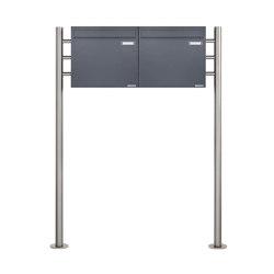 Basic | 2er 1x2 Standbriefkasten als Zaunbriefkasten in Anthrazitgrau BASIC 381Z-ST-R - Entnahme rückseitig | Mailboxes | Briefkasten Manufaktur
