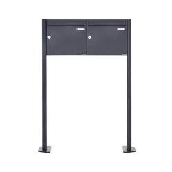 Basic | 2er 1x2 Standbriefkasten Design BASIC 380 ST-T - RAL 7016 anthrazitgrau 100mm Tiefe | Mailboxes | Briefkasten Manufaktur