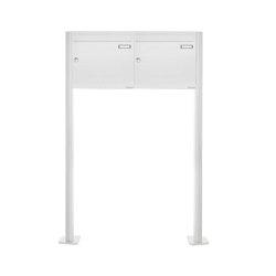 Basic | 2er 1x2 Standbriefkasten Design BASIC 380 ST-T - RAL 9016 verkehrsweiß 100mm Tiefe | Mailboxes | Briefkasten Manufaktur