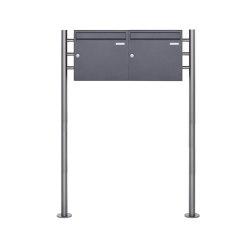 Basic | 2er 1x2 Standbriefkasten Design BASIC 381 ST-R - DB703 eisenglimmer 100mm Tiefe | Mailboxes | Briefkasten Manufaktur
