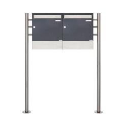 Basic | 2er 1x2 Standbriefkasten Design BASIC 381 ST-R mit Zeitungsfächer - Edelstahl-RAL 7016 anthrazitgrau | Mailboxes | Briefkasten Manufaktur