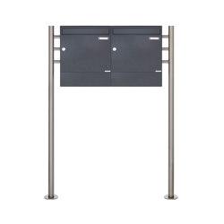 Basic | 2er 1x2 Standbriefkasten Design BASIC 381 ST-R mit Zeitungsfächer - RAL 7016 anthrazitgrau | Mailboxes | Briefkasten Manufaktur