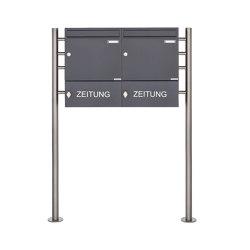 Basic | 2er 1x2 Standbriefkasten Design BASIC 381 ST-R mit Zeitungsfach geschlossen - RAL 7016 anthrazitgrau 100mm Tiefe | Mailboxes | Briefkasten Manufaktur