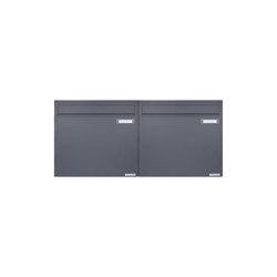 Basic | 2er 1x2 Zaunbriefkasten Design BASIC 382Z - RAL 7016 anthrazitgrau - Entnahme rückseitig | Mailboxes | Briefkasten Manufaktur