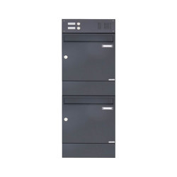 Basic | 2er 2x1 Aufputz Briefkasten BASIC 382A AP mit Klingelkasten & Zeitungsfach - RAL 7016 anthrazitgrau | Mailboxes | Briefkasten Manufaktur