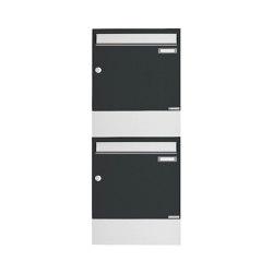 Basic | 2er 2x1 Aufputz Briefkasten BASIC 382A AP mit Zeitungsfach - Edelstahl-RAL 7016 anthrazitgrau | Mailboxes | Briefkasten Manufaktur