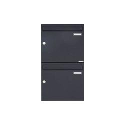 Basic | 2er 2x1 Aufputz Briefkasten Design BASIC 382A AP - RAL 7016 anthrazitgrau 100mm Tiefe | Mailboxes | Briefkasten Manufaktur