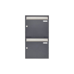 Basic | 2er 2x1 Aufputz Briefkastenanlage Design BASIC 382 AP - Edelstahl-RAL 7016 anthrazitgrau 100mm Tiefe | Mailboxes | Briefkasten Manufaktur