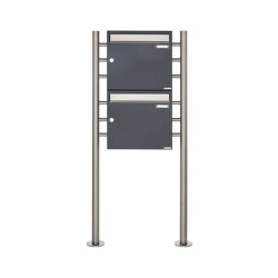 Basic | 2er 2x1 Briefkastenanlage freistehend Design BASIC 381 ST-R - Edelstahl-RAL 7016 anthrazitgrau 100mm Tiefe | Mailboxes | Briefkasten Manufaktur