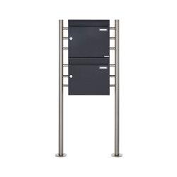 Basic | 2er 2x1 Briefkastenanlage freistehend Design BASIC 381 ST-R - RAL 7016 anthrazitgrau 100mm Tiefe | Mailboxes | Briefkasten Manufaktur