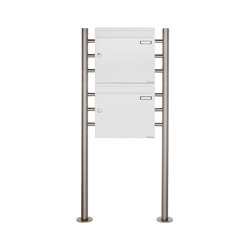Basic | 2er 2x1 Briefkastenanlage freistehend Design BASIC 381 ST-R - RAL 9016 verkehrsweiß 100mm Tiefe | Mailboxes | Briefkasten Manufaktur
