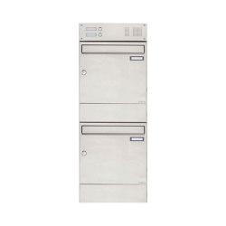 Basic | 2er 2x1 Edelstahl Aufputz Briefkasten BASIC 382A AP mit Klingelkasten & Zeitungsfach | Mailboxes | Briefkasten Manufaktur