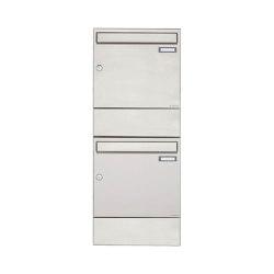 Basic | 2er 2x1 Edelstahl Aufputz Briefkasten BASIC 382A AP mit Zeitungsfach | Mailboxes | Briefkasten Manufaktur
