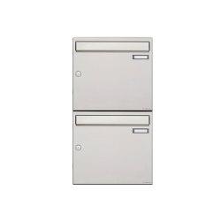 Basic | 2er 2x1 Edelstahl Aufputz Briefkastenanlage Design BASIC 382A-AP Edelstahl V2A, geschliffen 100mm Tiefe | Mailboxes | Briefkasten Manufaktur