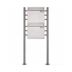 Basic | 2er 2x1 Edelstahl Standbriefkasten als Zaunbriefkasten BASIC 381Z-ST-R - Entnahme rückseitig | Mailboxes | Briefkasten Manufaktur