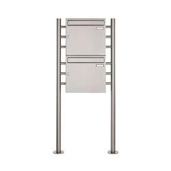 Basic | 2er 2x1 Edelstahl Standbriefkasten Design BASIC 381 ST-R Edelstahl V2A, geschliffen 100mm Tiefe | Mailboxes | Briefkasten Manufaktur