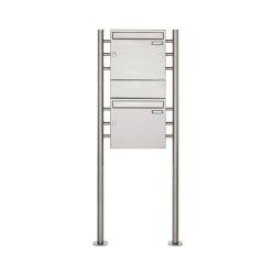 Basic | 2er 2x1 Edelstahl Standbriefkasten Design BASIC 381 ST-R mit 1x Zeitungsfach Mitte | Mailboxes | Briefkasten Manufaktur