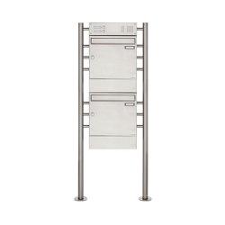 Basic | 2er 2x1 Edelstahl Standbriefkasten Design BASIC 381 ST-R mit Klingelkasten & Zeitungsfach | Mailboxes | Briefkasten Manufaktur