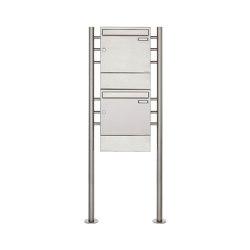 Basic | 2er 2x1 Edelstahl Standbriefkasten Design BASIC 381 ST-R mit Zeitungsfächer | Mailboxes | Briefkasten Manufaktur