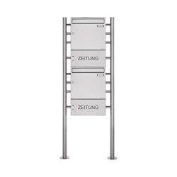 Basic | 2er 2x1 Edelstahl Standbriefkasten Design BASIC 381 ST-R mit Zeitungsfach geschlossen 100mm Tiefe | Mailboxes | Briefkasten Manufaktur