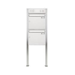 Basic | 2er 2x1 Edelstahl Standbriefkasten Design BASIC 384 ST-Q mit Klingelkasten Oben 100mm Tiefe | Mailboxes | Briefkasten Manufaktur