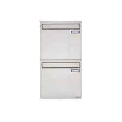 Basic | 2er 2x1 Edelstahl Zaunbriefkasten Design BASIC 382Z - Entnahme rückseitig | Mailboxes | Briefkasten Manufaktur